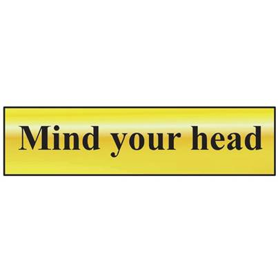 Scan Mind Your Head - Polished Brass Effect 200 x 50mm