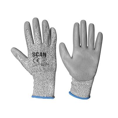 Scan Grey PU Coated Cut 3 Gloves