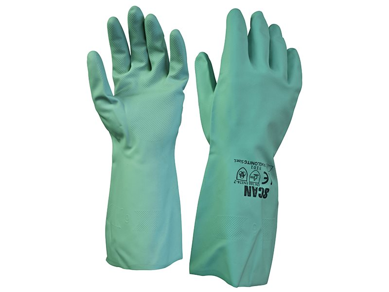 Nitrile Gauntlets with Flock Lining Large (Size 9)