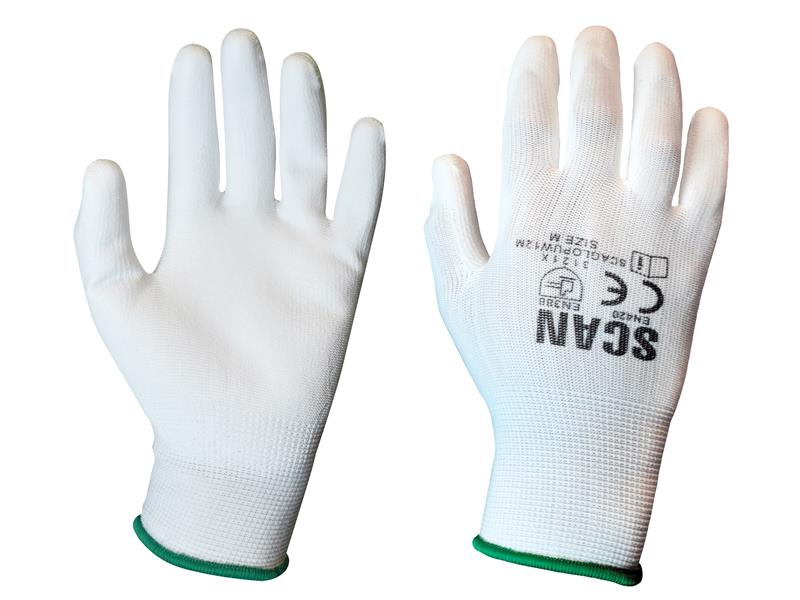 White PU Coated Gloves (Pack 12)