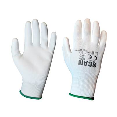 Scan White PU Coated Gloves (Pack 12)