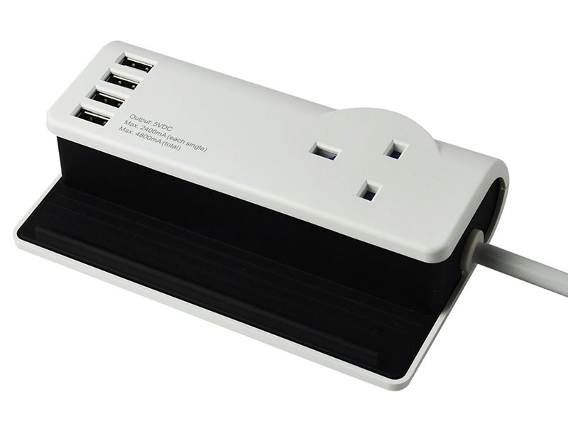 Desktop Charging Station 1.4m 4 x USB 13A 240 Volt