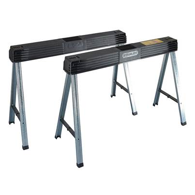 Stanley Tools Folding Metal Leg Sawhorses (Twin Pack)