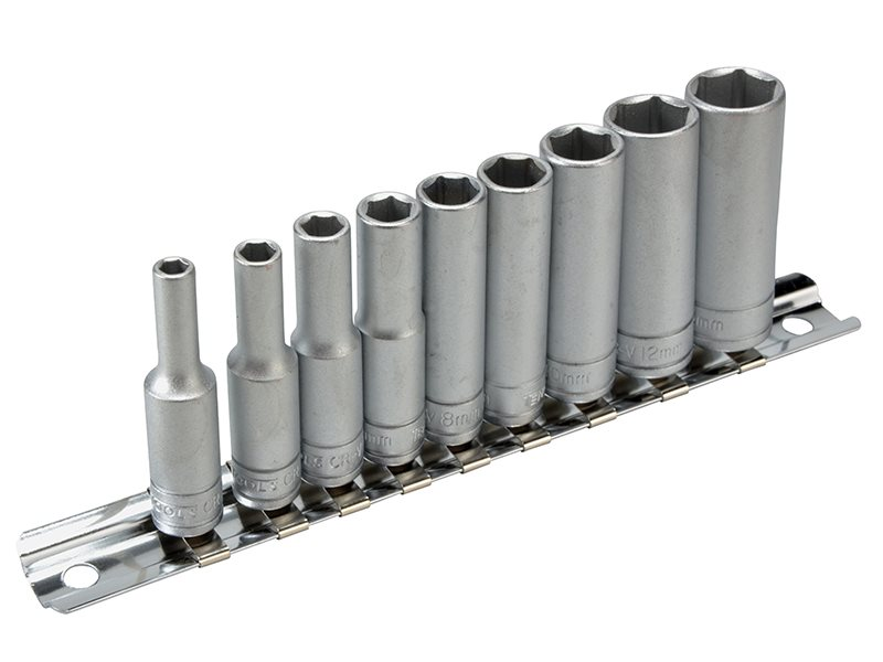 M1407 Deep Socket Clip Rail Set of 10 Metric 1/4in Drive