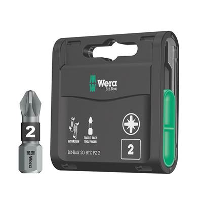 Wera Bit-Box 20 BiTorsion Bits PZ2 x 25mm 20 Piece