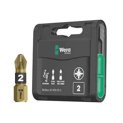 Wera Bit-Box 20 BTH BiTorsion Extra-Hard Bits PZ2 x 25mm 20 Piece