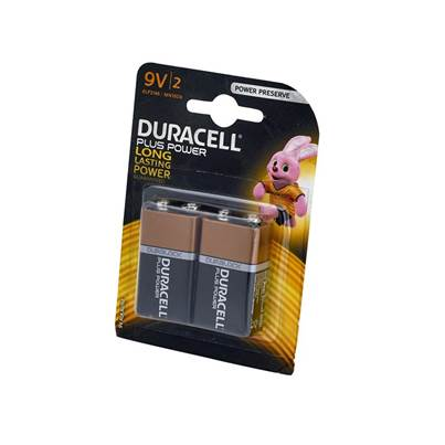 XMS Duracell Plus Power 9V Batteries (Twin Pack)