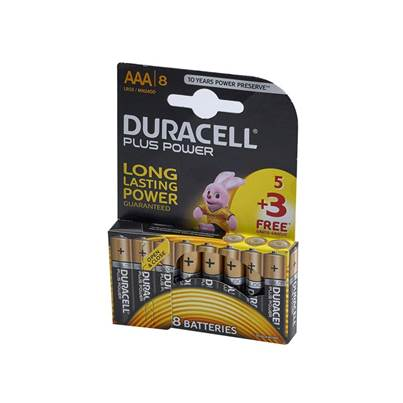 XMS Duracell Plus Power AAA Batteries (Pack 5 + 3 Free)