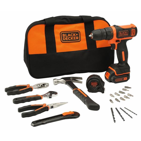 Black & Decker 12V Ultra Compact Lithium-ion Drill Driver With 20 Accessories And Bag