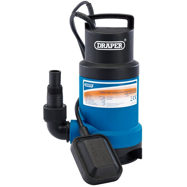 61621 166L/Min Submersible Dirty Water Pump with Float Switch 550W