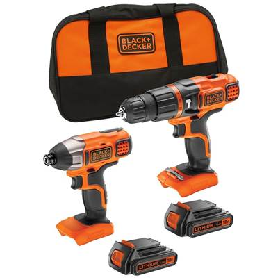 Black & Decker 18V Lithium-ion Hammer Drill + Impact Driver with Storage Bag