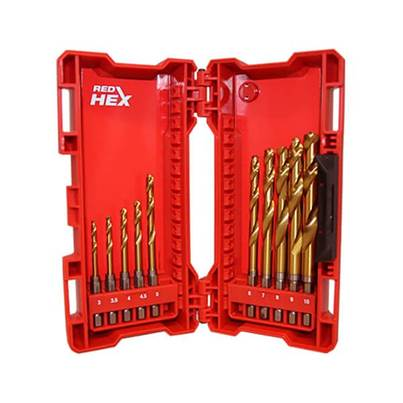 Milwaukee 10 Piece Red Hex ShockWave HSS-Ground Titanium Metal Drill Bit Set
