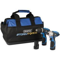 Draper 52046 10.8V Dr/Dr.TW/Pack +3 Batteries and Bag - Draper Storm Force Interchange Super Deal