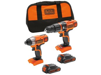 18V Lithium-ion Hammer Drill + Impact Driver with Storage Bag