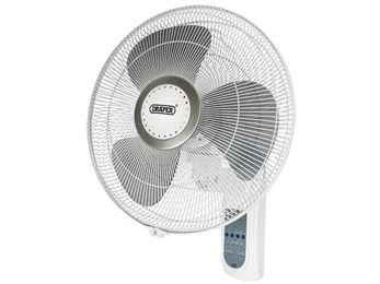 "74842 16"" Remote Controlled Wall Mounted Fan (55W)."