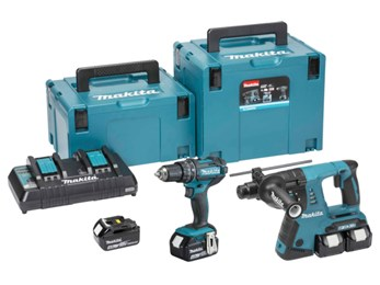 Makita DLX2137PMJ Twin 18v LXT Twin Kit with 3 x 4.0Ah Li-ion Batteries