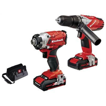 Einhell Power-X-Change Combi & Impact Driver Twin Pack 18 Volt 2 x 1.5Ah Li-Ion