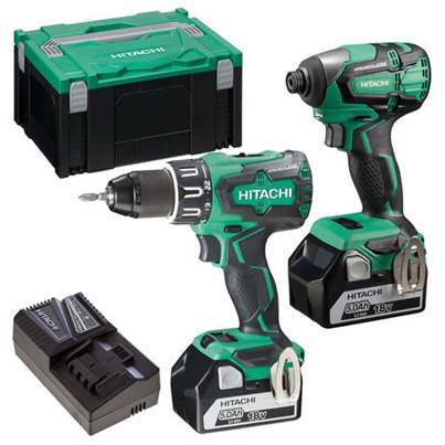 Hitachi 18V Combi Drill and Impact Driver Twin Pack 2 x 5.0Ah Batteries
