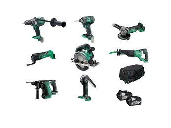 HiKOKI 18V 8 PIECE Brushless Kit with 2 x 6AH Batteries