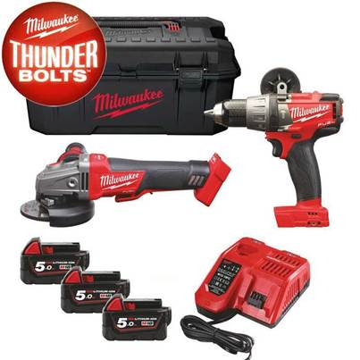 Milwaukee M18SET2H-503W M18 18V Fuel Grinder & Combi Hammer Drill Twin Pack With 3 x 5.0Ah Li-Ion Batteries