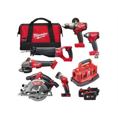 Milwaukee M18 FPP6B-503B FUEL Power Pack 6 Piece Kit 18 Volt 3 x 5.0Ah Li-Ion
