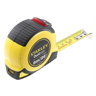 Stanley 0-36-807 Dual Lock Tylon Pocket Tape 8m/26ft (Width 25mm)