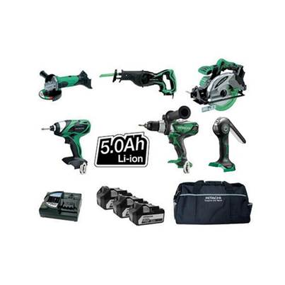 Hitachi KTL618S2/JJ3 18v 6 Piece Kit 3 x 5.0Ah Li-Ion
