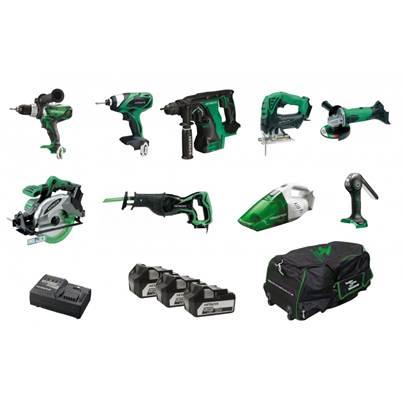 Hitachi KTL918S3 Cordless 9 Piece Kit 18 Volt 3 X 5.0Ah Li-Ion Batteries