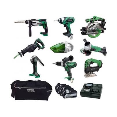 Hitachi KTL918S2/JJ3 Cordless 9 Piece Kit 18 Volt 3 X 5.0Ah Li-Ion Batteries