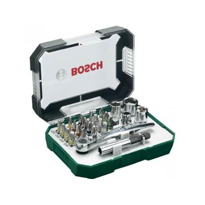 Bosch 26-piece screwdriver bit and ratchet set