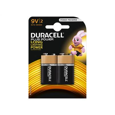 Duracell 9V Alkaline Batteries Pack of 2