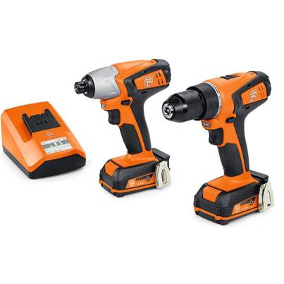 Fein ABSU 12 C Combi Drill + ASCD 12-100 W4C Impact Driver Twin Pack With 2 x 2.5Ah Batteries