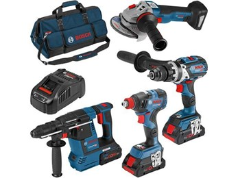 Bosch 18v 4 Piece ROBUST series Power Tool Kit With 2 x 4.0Ah  And 1 x 8.0Ah ProCore Batteries