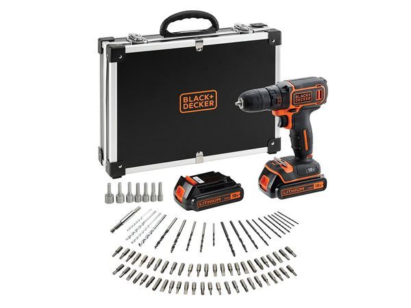 Black & Decker B/DCDC18BAFC-GB 18V Lithium-ion Drill Driver with 2 Battieries, fast charger and 80 accessories in storage case