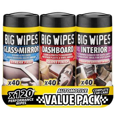 Big Wipes Automotive Valet Pack - 3 x 40 Wipes