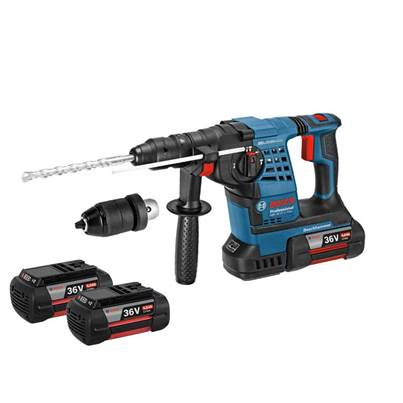Bosch GBH36VFLIP3 36v SDS Plus Hammer Drill with Quick Change Chuck and 3 x 4.0Ah Li-Ion