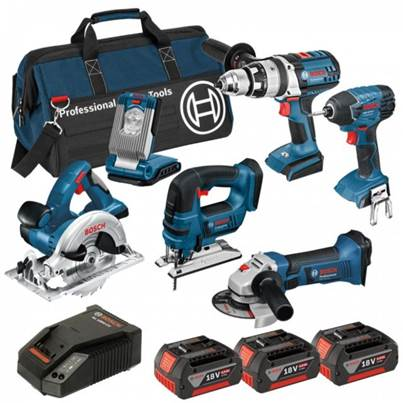 Bosch BAG+6RS 18v 6 Pce li-ion Cordless Kit 6-Tool Package ( 3 x 4Ah Batteries )