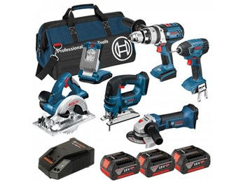 BAG+6RS 18v 6 Pce li-ion Cordless Kit 6-Tool Package ( 3 x 4Ah Batteries )