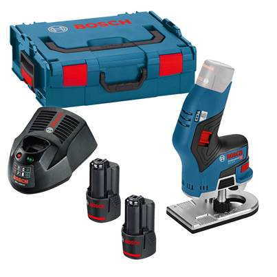 Bosch GKF12V-8 12v Brushless Router 2 x 3.0Ah Li-ion BATTERIES L-Boxx Kit