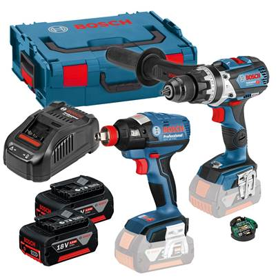 Bosch 18V Brushless Twin Pack - GSB18V-85C Combi Drill + GDX18V-EC Impact Driver With 2x 5Ah Batteries And Bluetooth GCY30- 4 Unit