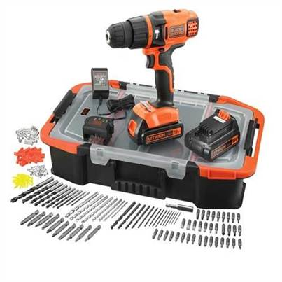 Black & Decker 18V Lithium-ion Hammer Drill With 2 Batteries and 160 Accessories and Storage Box