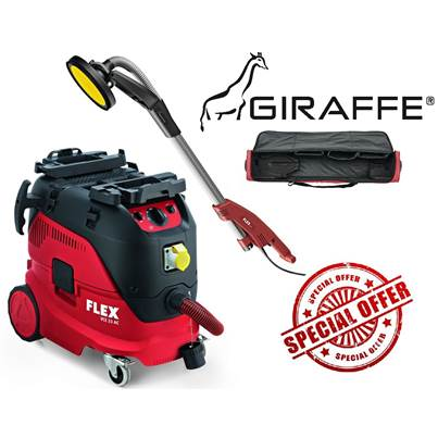 FLEX GE5 + TB-L 110v Girraffe Wall And Ceiling Sander With Safety Dust Extractor VCE 33 M AC And Kit Bag