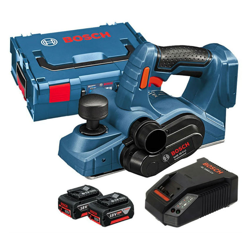 GHO18VLI 18v Cordless Planer with 2 x 5.0ah Li-Ion Batteries, Charger and L-BOXX