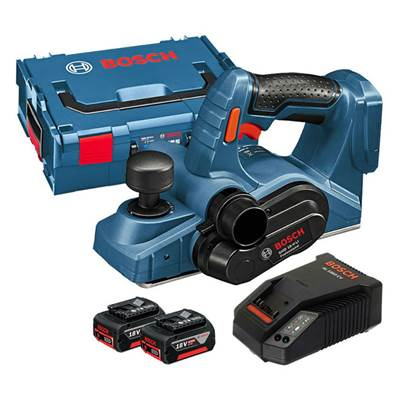 Bosch GHO18VLI 18v Cordless Planer with 2 x 5.0ah Li-Ion Batteries, Charger and L-BOXX