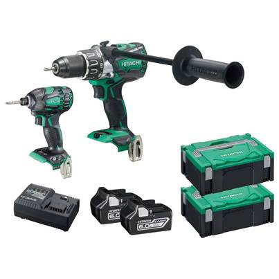 Hitachi KC18DPL2/JA 18v 2x6.0ah Li-ion Brushless Impact Driver Twin Kit