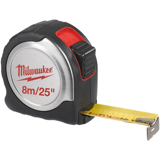 C8-26/25 Silver Compact Line Tape Measure 8m/26ft (Width 25mm)