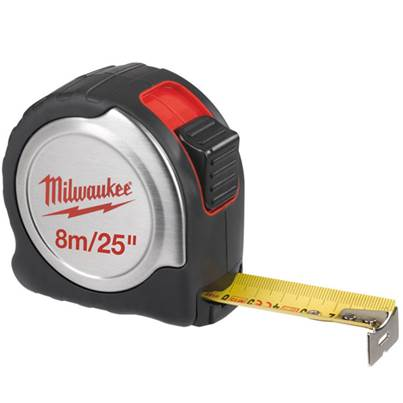Milwaukee C8-26/25 Silver Compact Line Tape Measure 8m/26ft (Width 25mm)