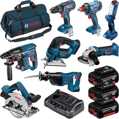 0615990K9G 18 Volt 8 Piece Professional Power Tool Kit, 3 x 4.0Ah Batteries