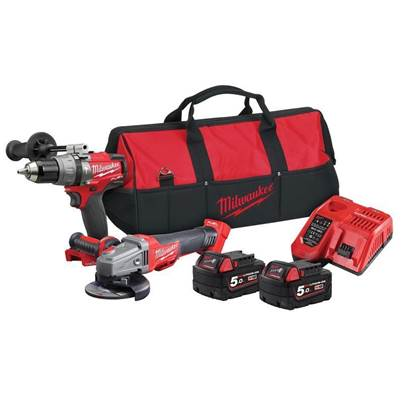 Milwaukee M18ONEPP2M-502B FUEL 18V Thunderbolt Kit - Combi Drill & Grinder (2 x 5.0Ah Batteries)