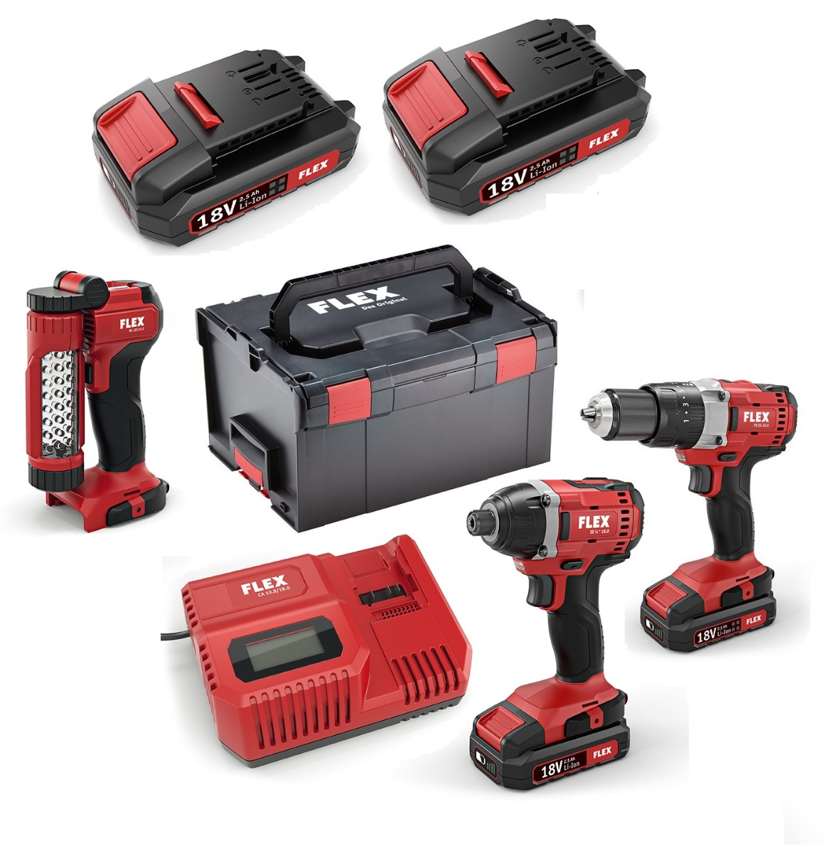 18v Drill and Impact Driver Twin Pack With Free Work Light And 4 x 2.5Ah Batteries